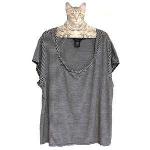 George Scoop Neck Striped Top Tshirt 3X 22W/24W